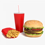 3d Burgers, Fries and Drink Model