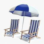 3d Beach Chairs and Umbrella